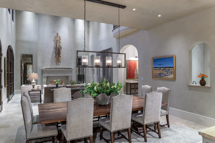 Residential architectural photograph of a tanglewood residence dinning room looking into livingroom