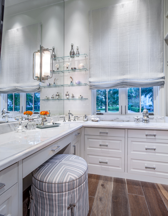 Residential architectural photograph of a tanglewood residence master bathroom makeup vanity